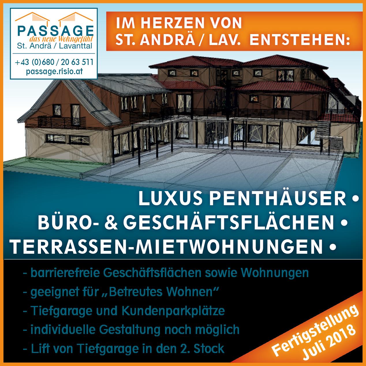Passage, das neue Wohngefühl in St. Andrä im Lavanttal, Mietwohnung, Eigentumswohnung, Penthouse